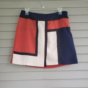 Promod Blue Orange & Cream Color Block Skirt